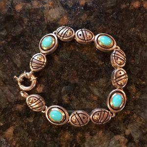 Jewelry - Turquoise bracelet.set in 18 kt &sterling silver🌺